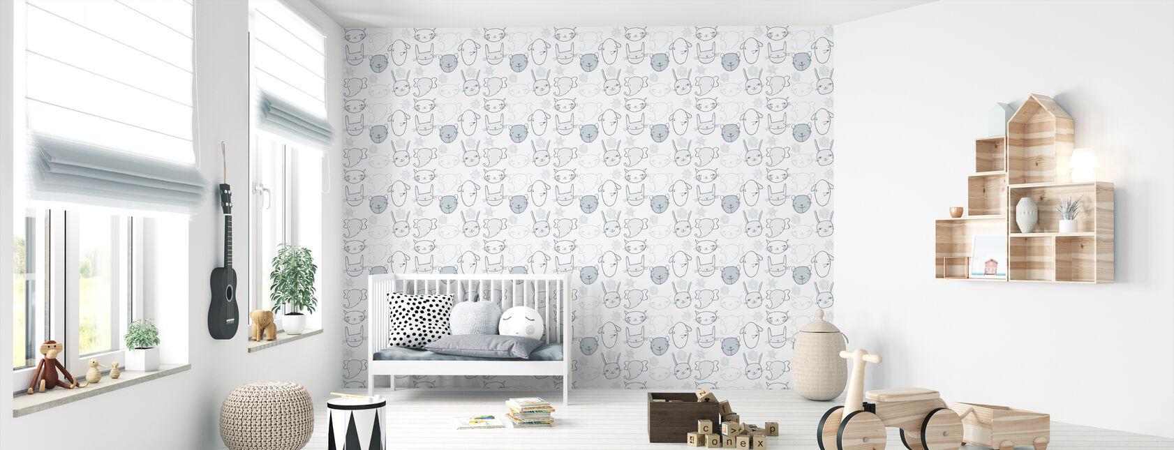 Two Little Ears - Bleu - Wallpaper - Nursery