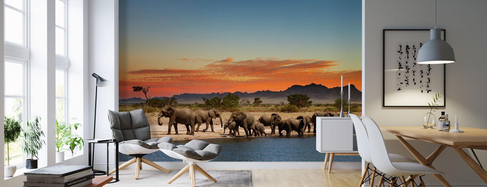 Herd of Elephants - Wallpaper - Living Room