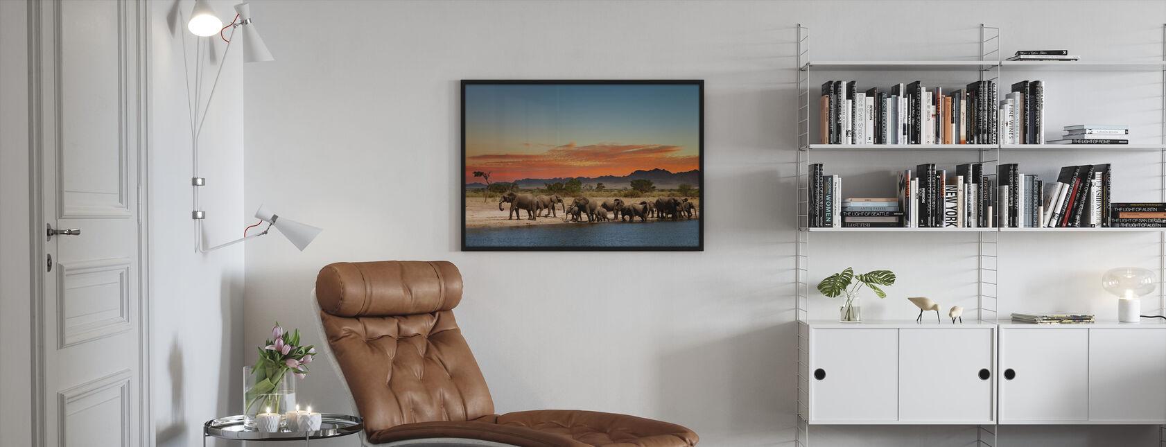 Herd of Elephants - Framed print - Living Room