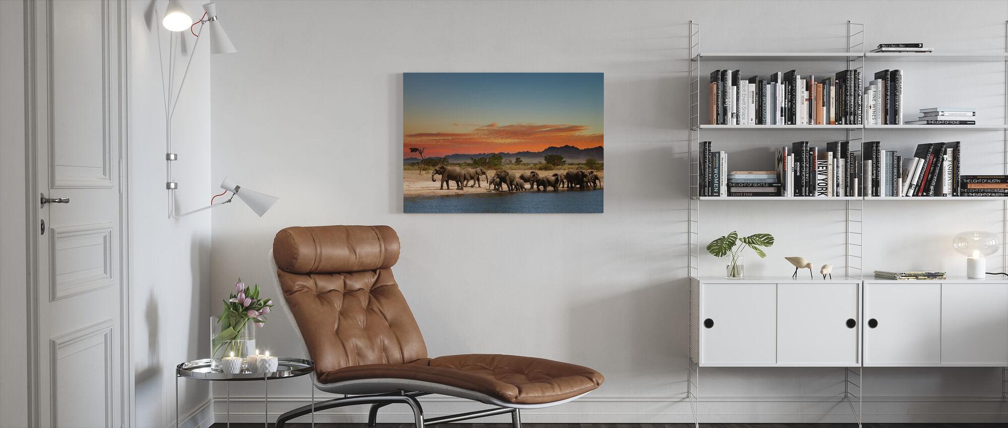 Herd of Elephants - Canvas print - Living Room