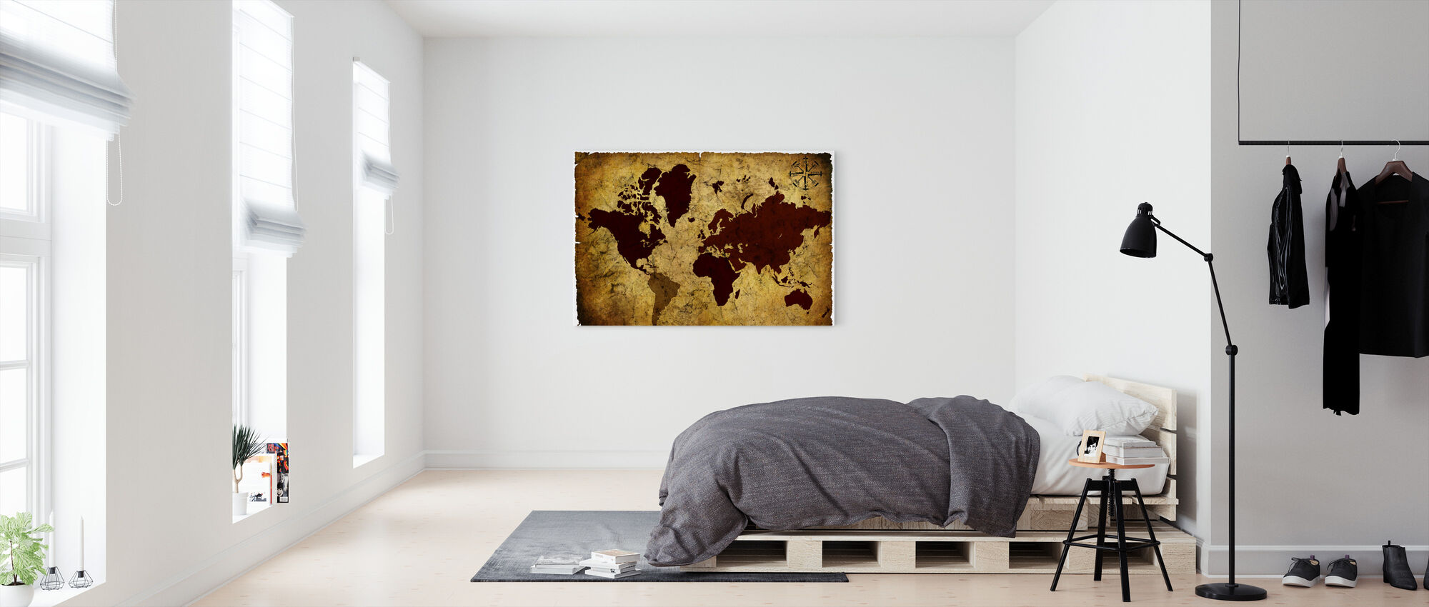 Old Manuscript of World Map - Canvas print - Bedroom