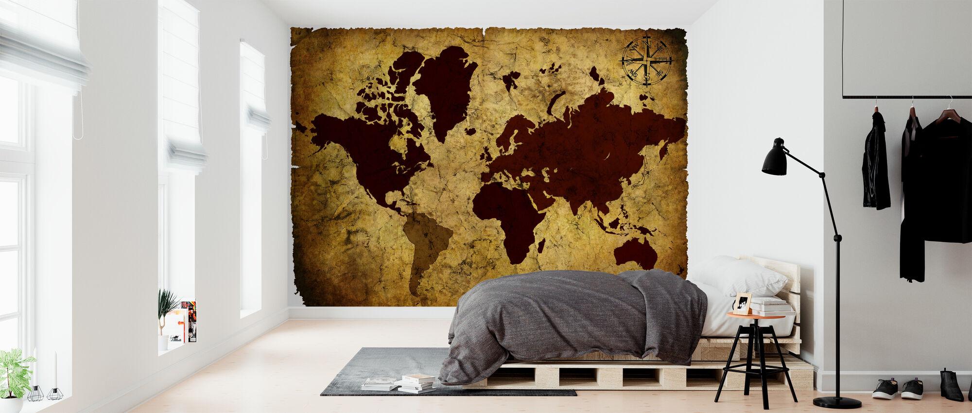 Old Manuscript of World Map - Wallpaper - Bedroom