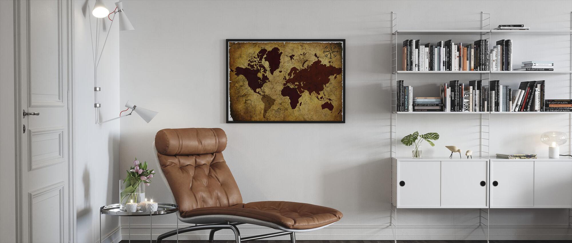 Vanha käsikirjoitus maailmankartta - Kehystetty kuva - Olohuone