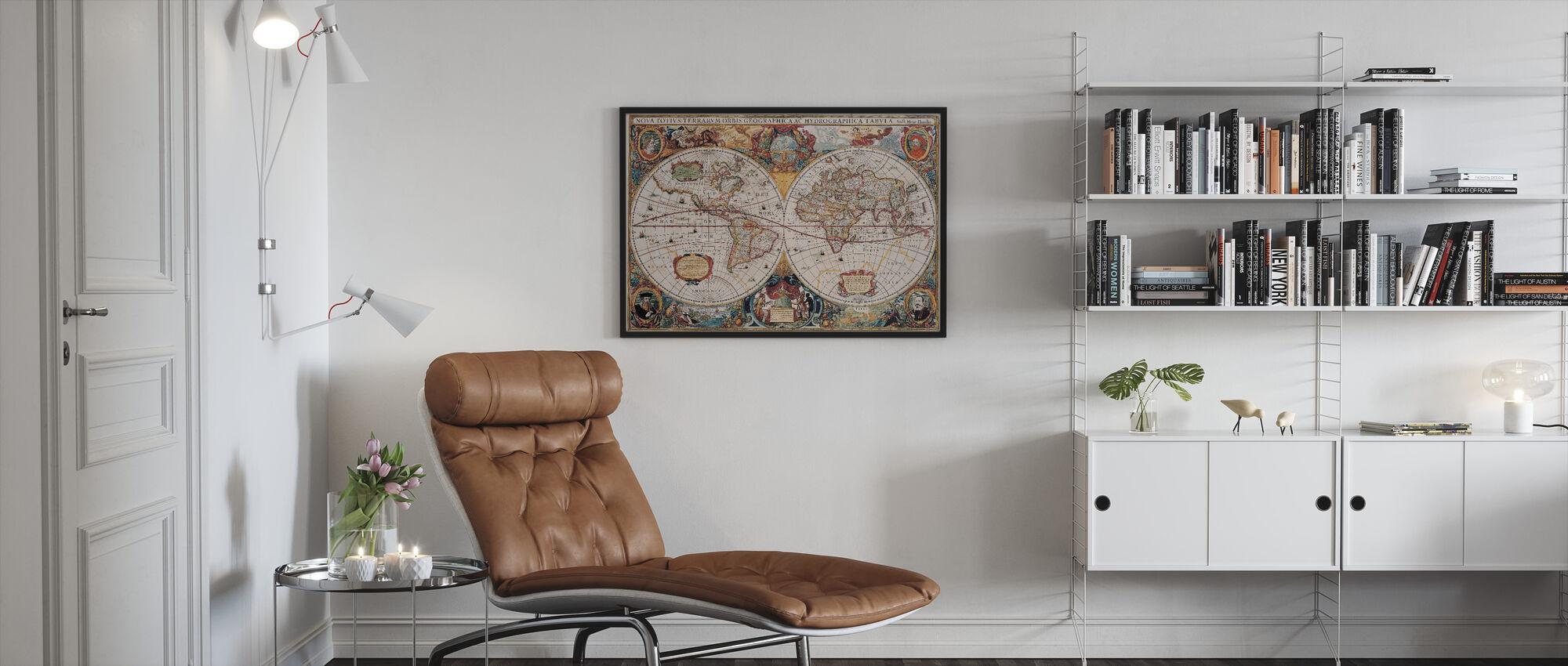 Antikk kart - Henricus Hondius 1630 - Innrammet bilde - Stue