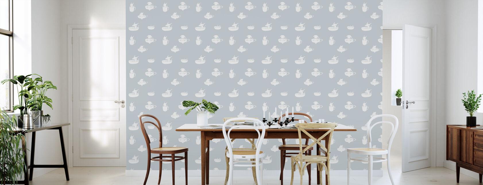 Pups In Cups - Bleu - Wallpaper - Kitchen