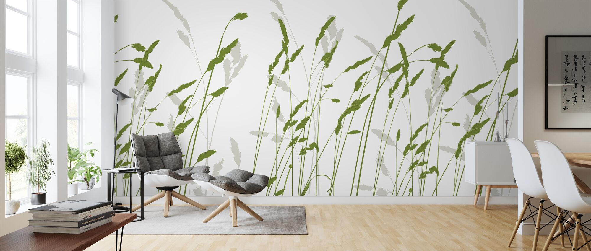 Stroh - Grün - Tapete - Wohnzimmer
