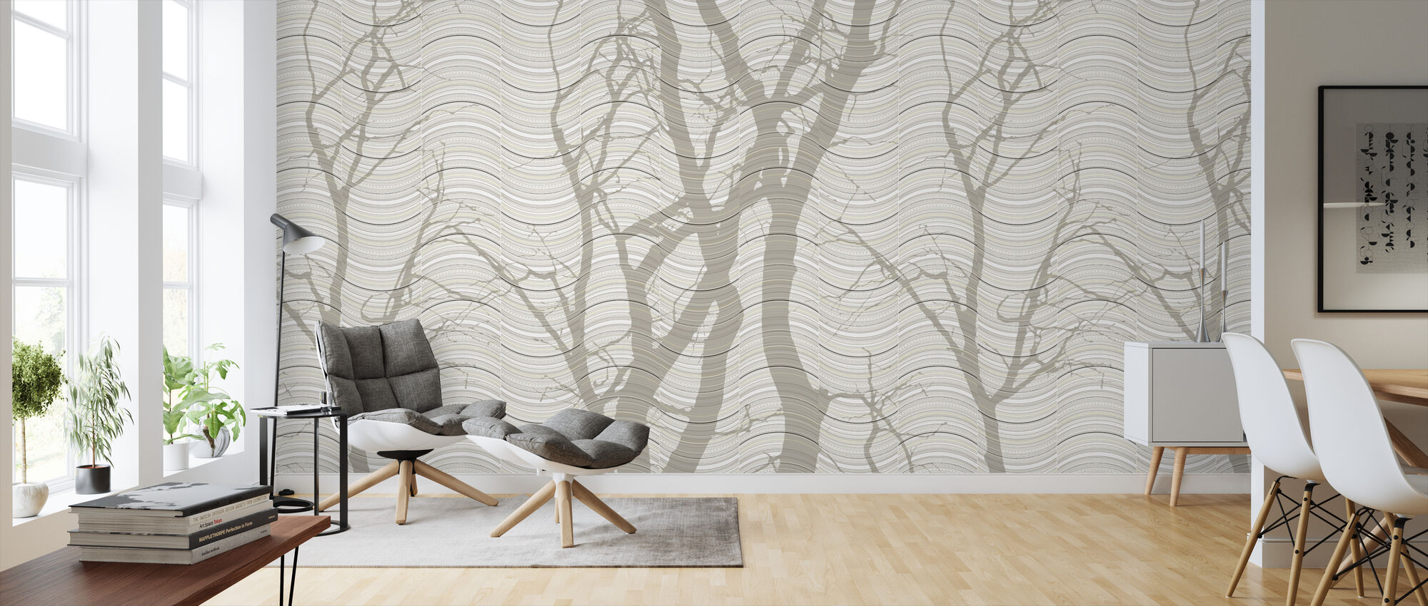 Wave - Beige - Wallpaper - Living Room
