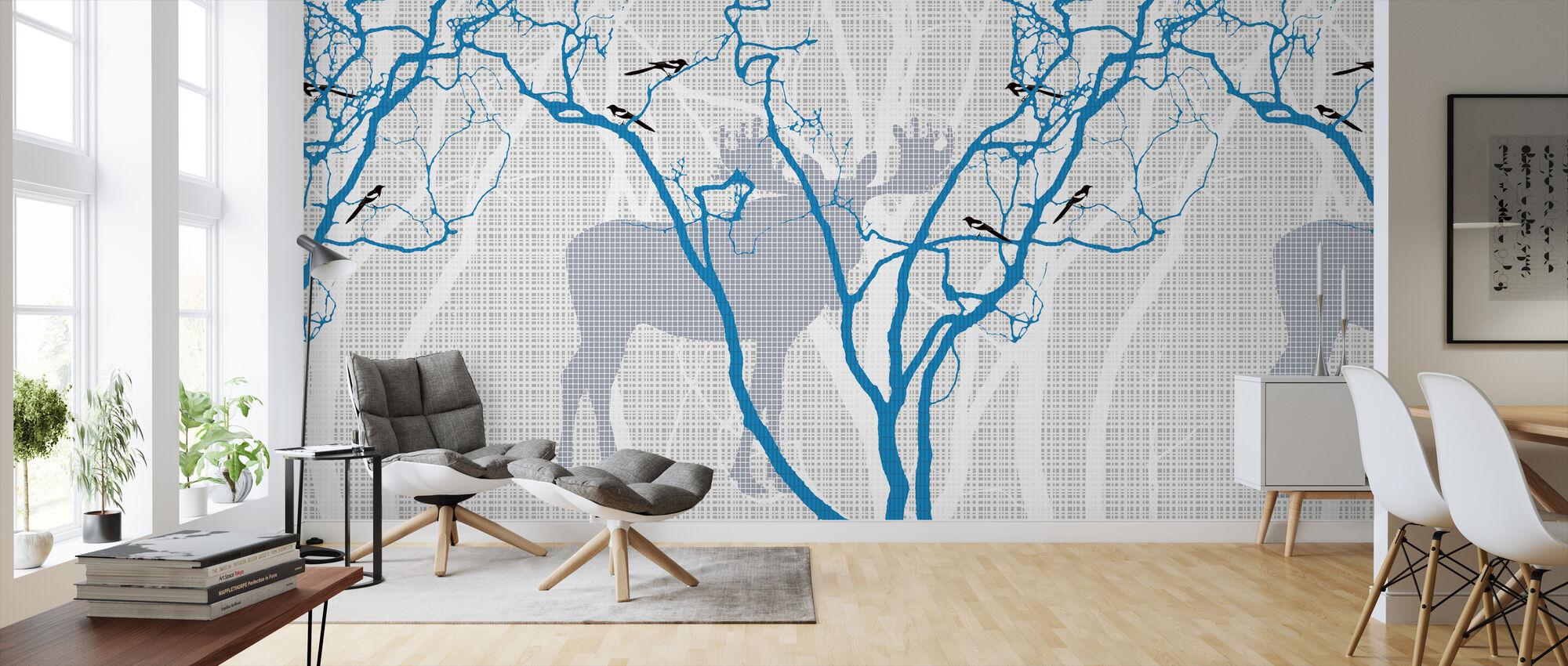 Rhubarb - Indigo Blue - Wallpaper - Living Room