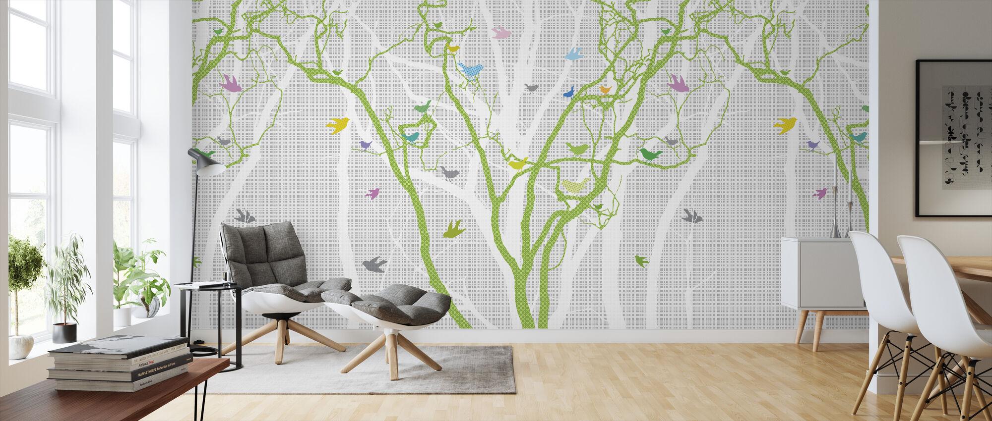 Hide and Seek - Spring Green - Wallpaper - Living Room