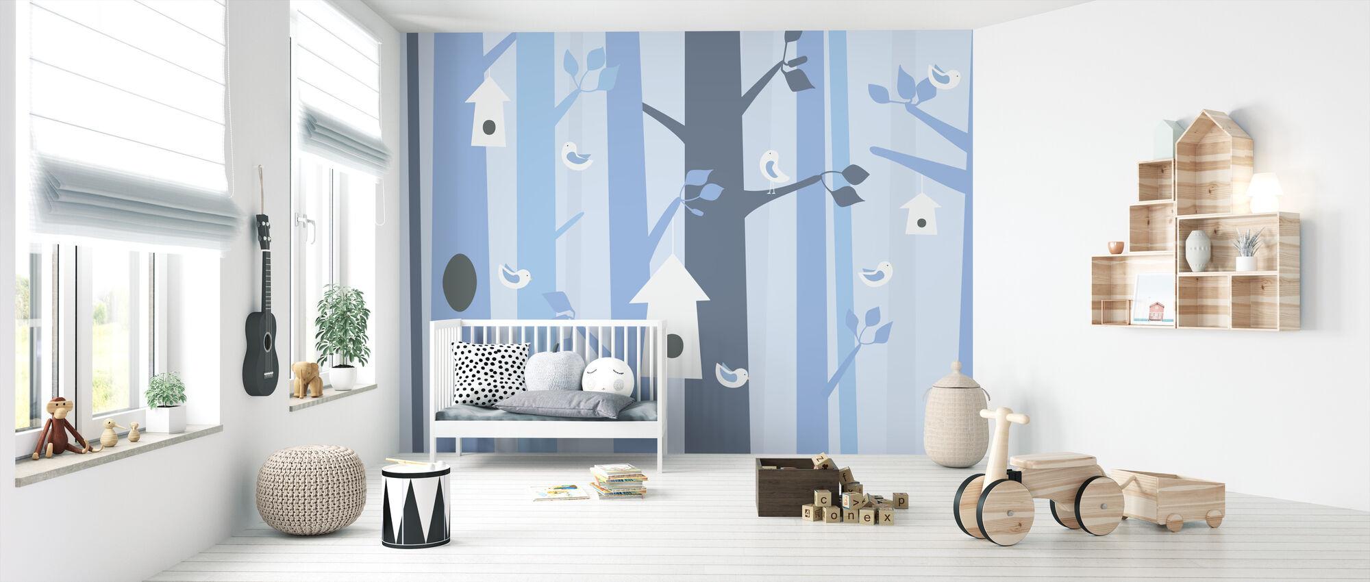 Fågelskog - Blå - Tapet - Babyrum