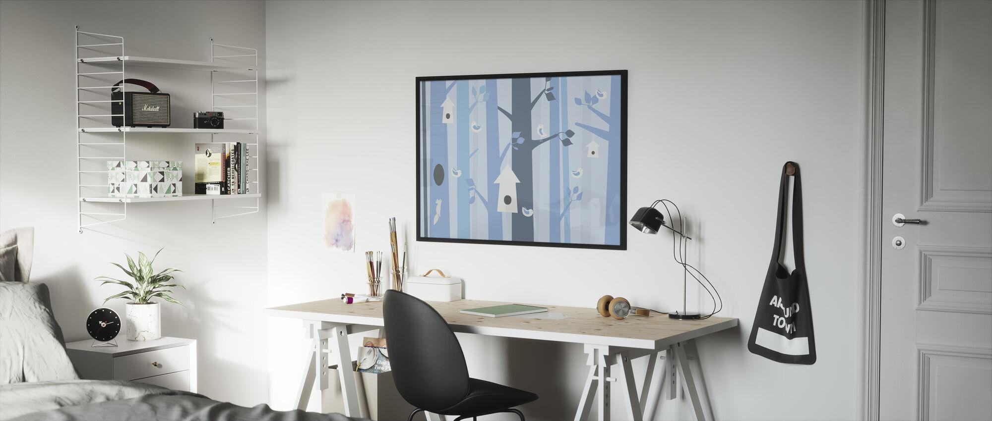 Birdforest - Blue - Framed print - Kids Room