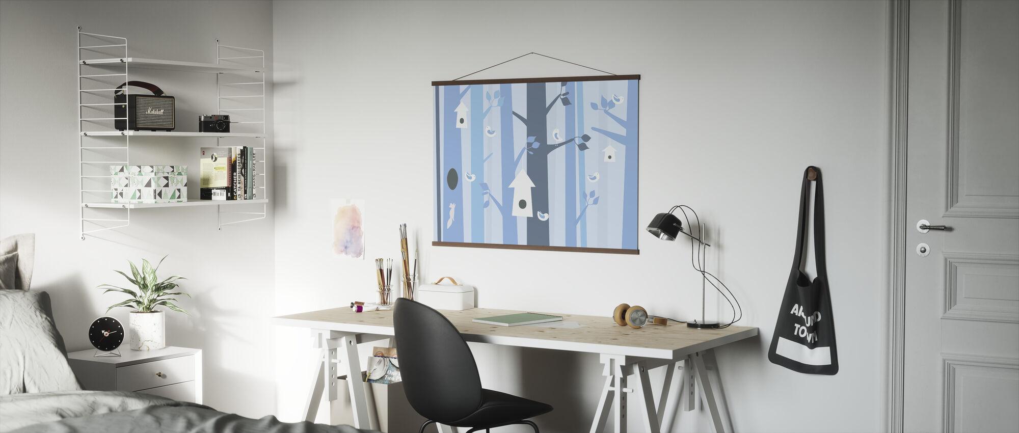Vogelbos - Blauw - Poster - Kantoor