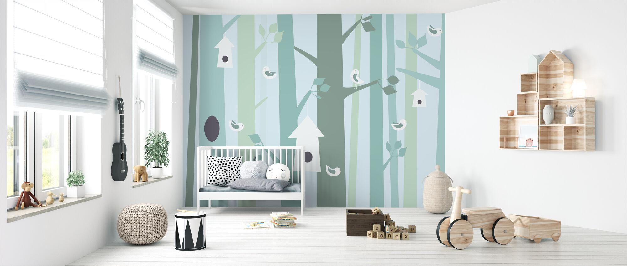 Birdforest - Green - Wallpaper - Nursery