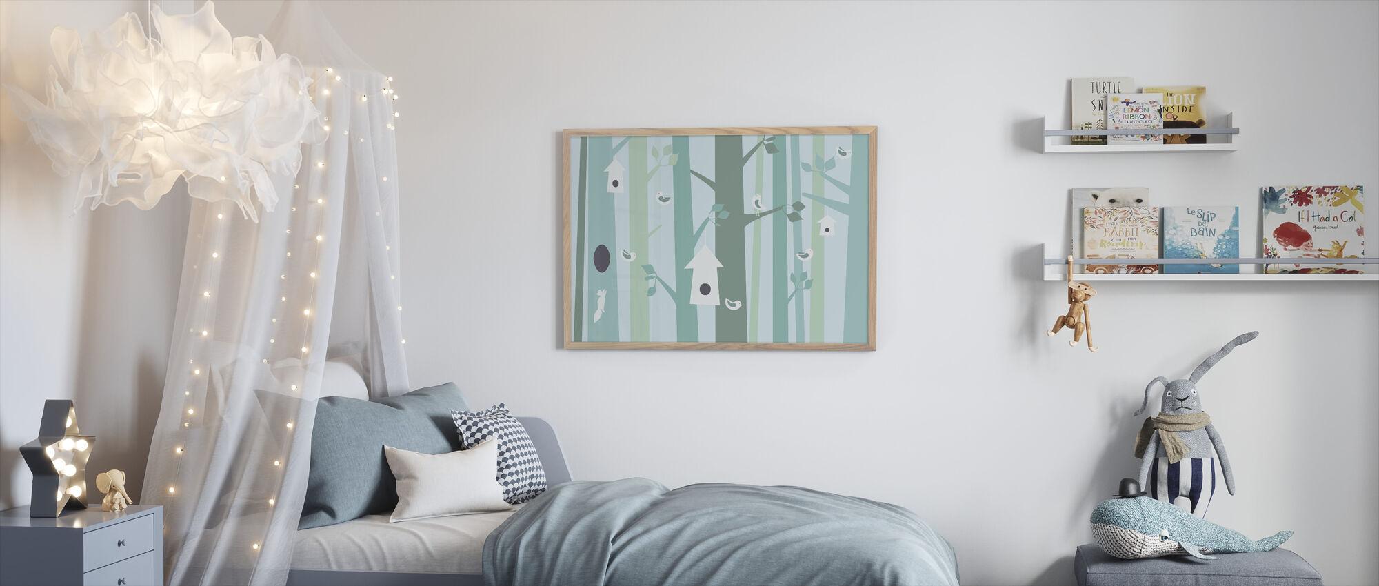 Birdforest - Green - Framed print - Kids Room