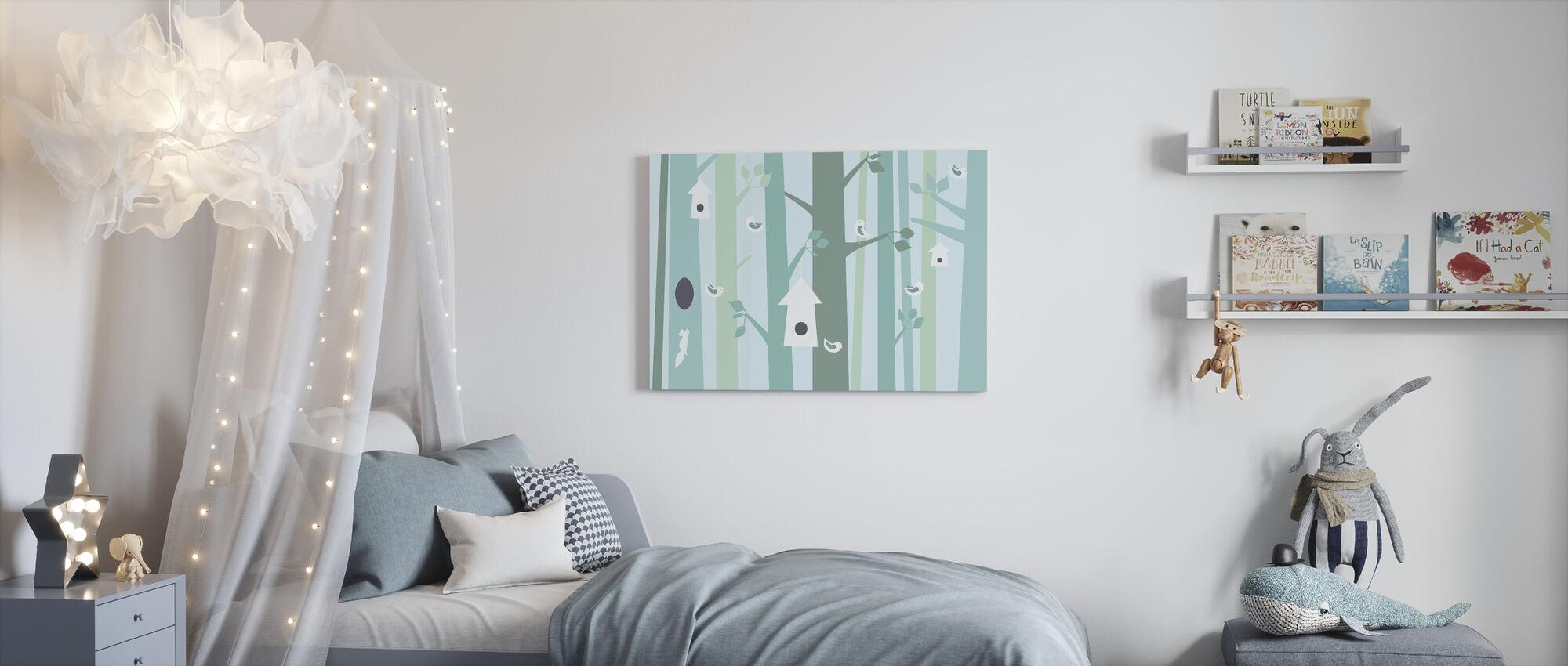 Birdforest - Green - Canvas print - Kids Room