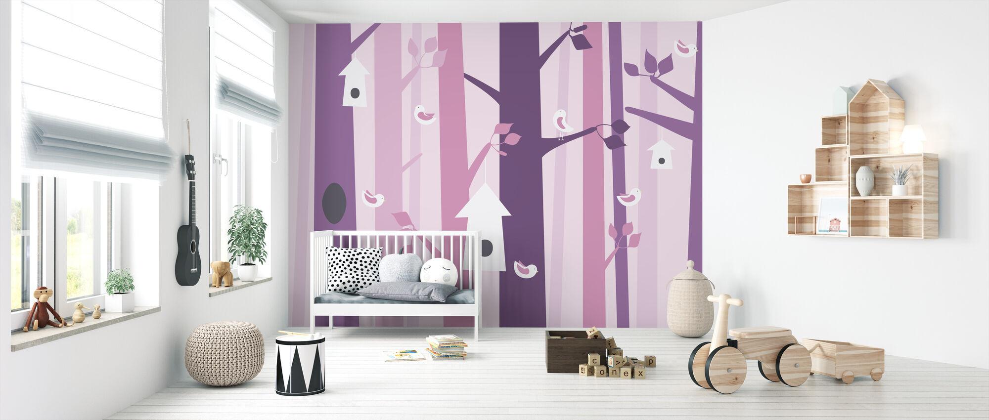 Birdforest - Pink - Wallpaper - Nursery