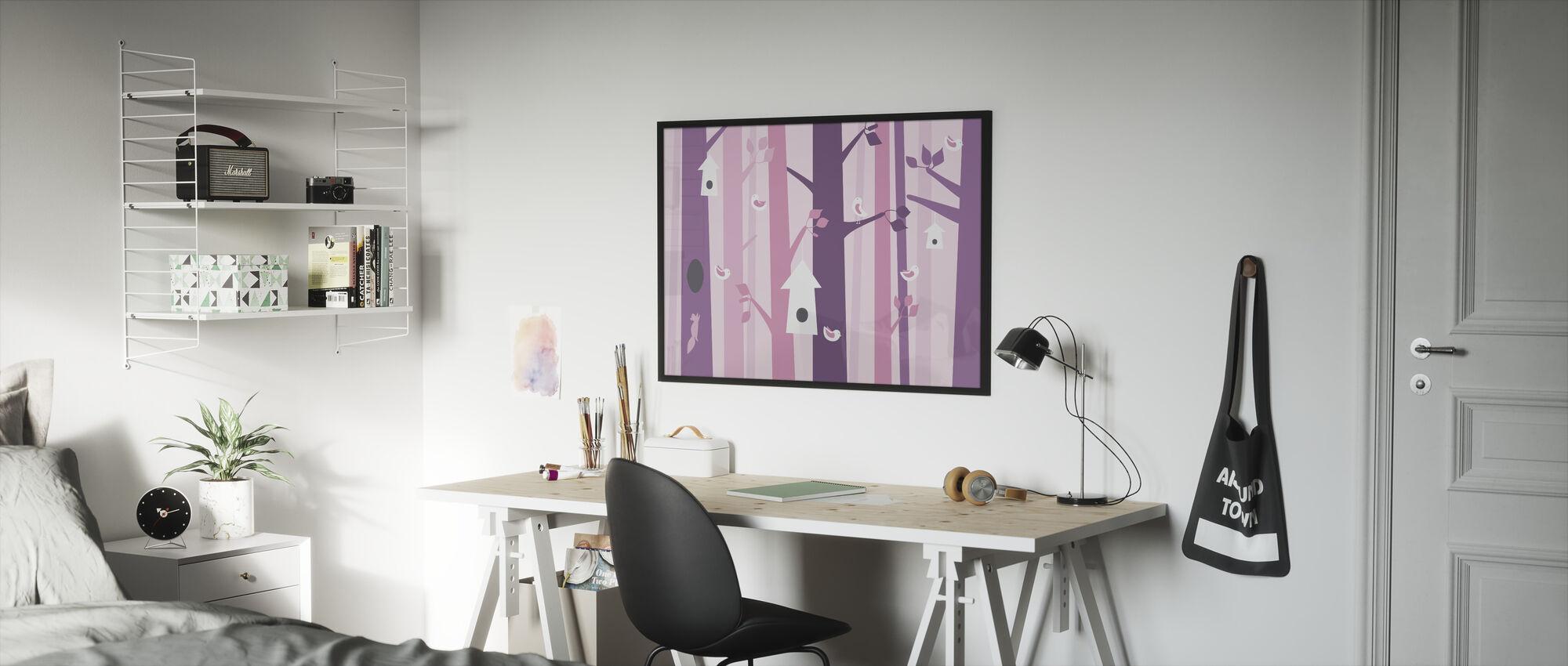 Birdforest - Pink - Framed print - Kids Room