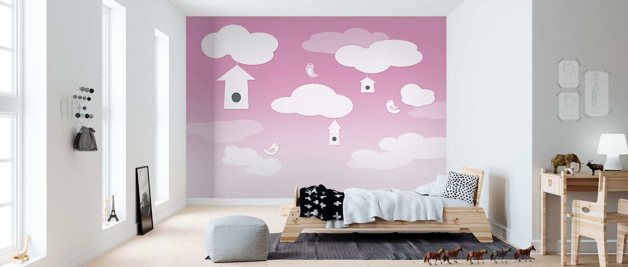 Birds up High - Pink - Wallpaper - Kids Room