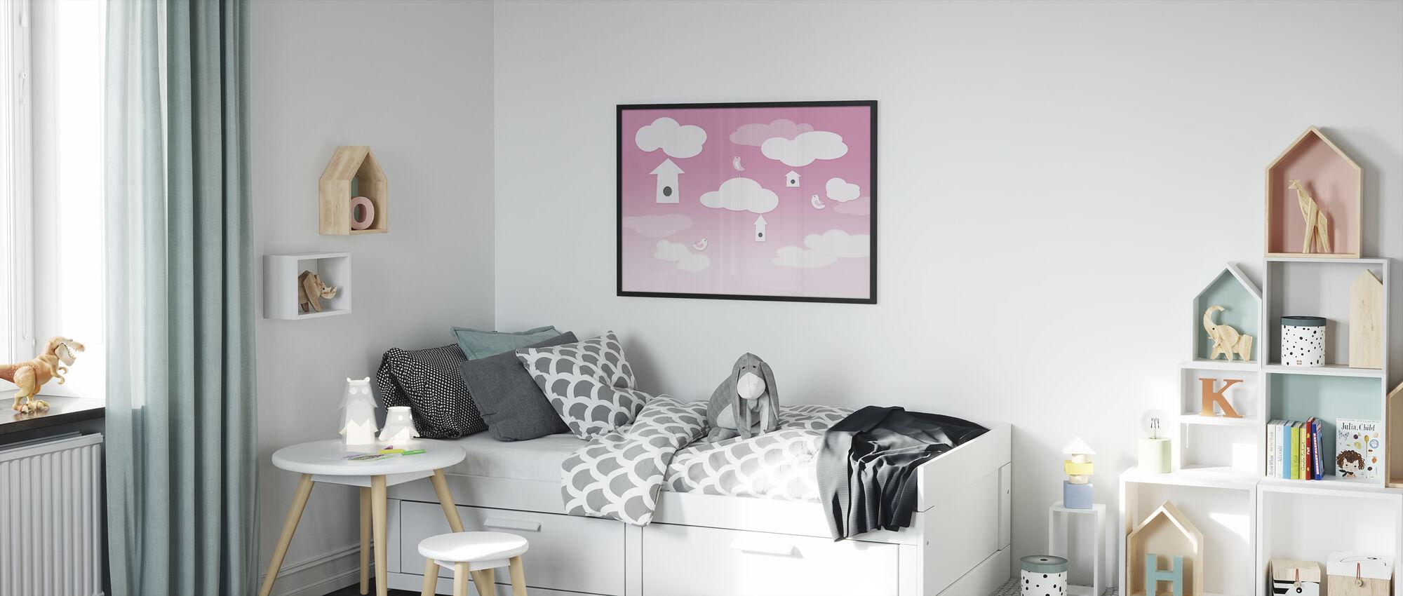 Birds up High - Pink - Framed print - Kids Room