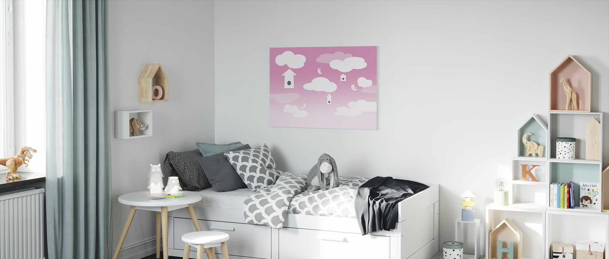 Birds up High - Pink - Canvas print - Kids Room