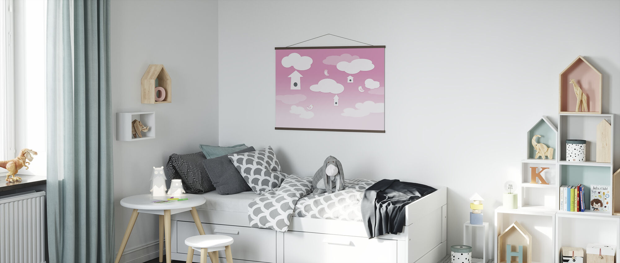 Birds up High - Pink - Poster - Kids Room