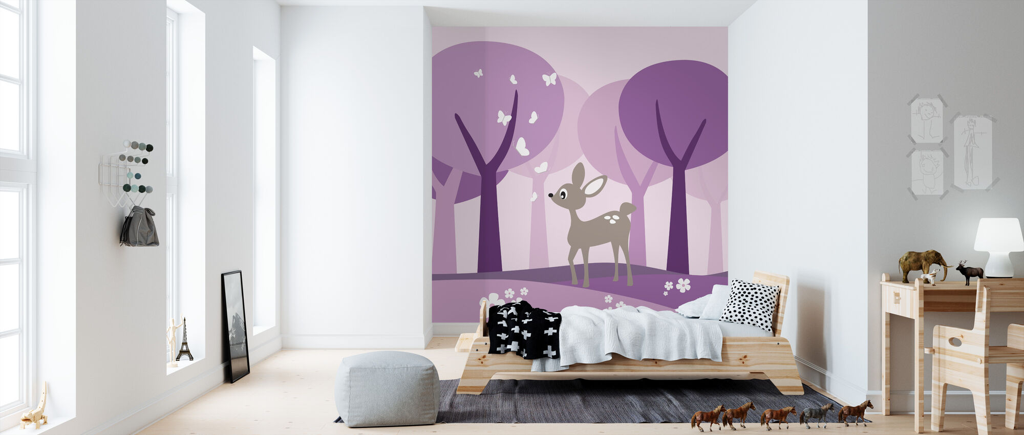 Deer in Purple Woods - Wallpaper - Kids Room