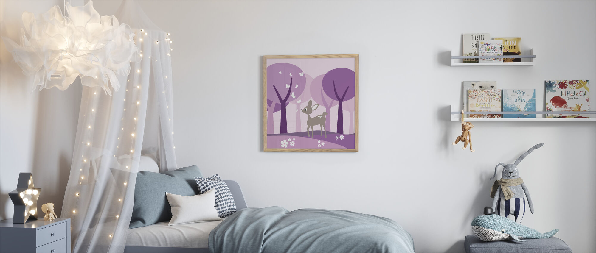 Deer in Purple Woods - Framed print - Kids Room