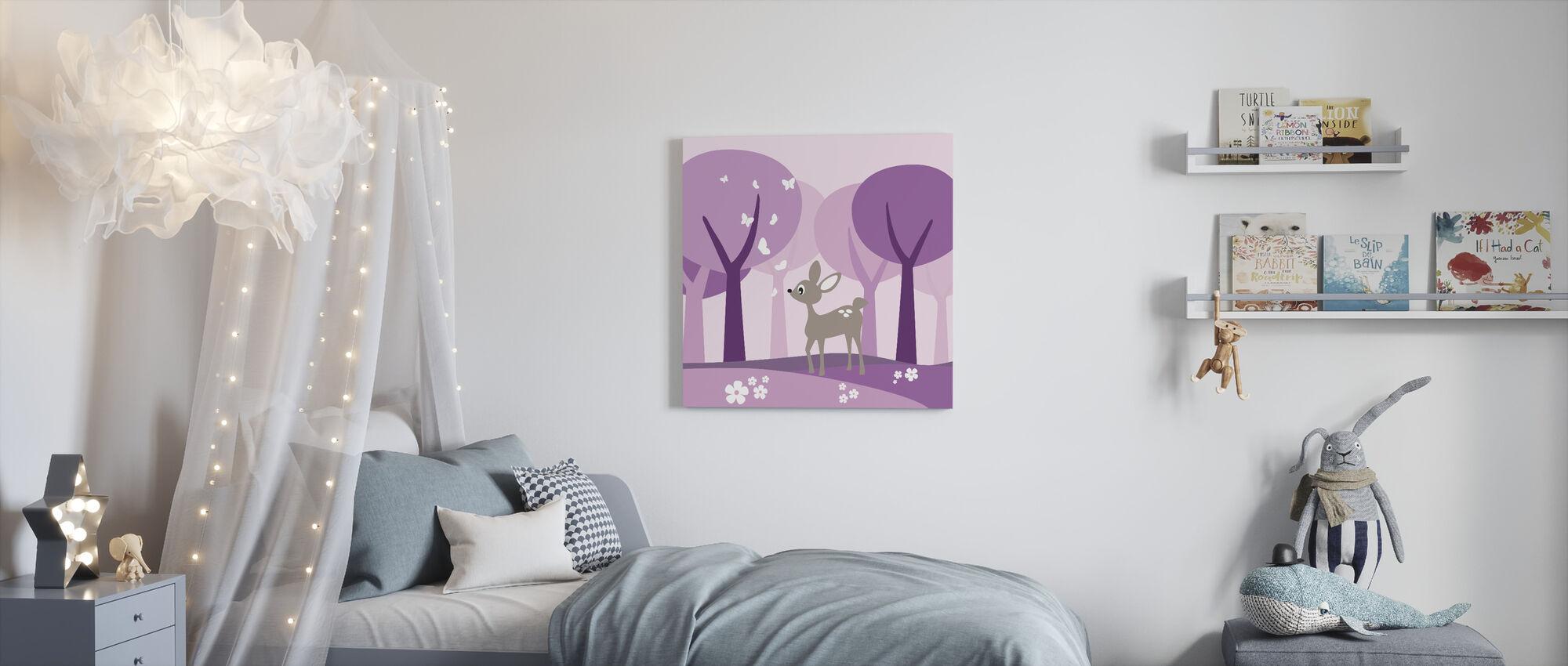 Cervi in Bosco Viola - Stampa su tela - Camera dei bambini
