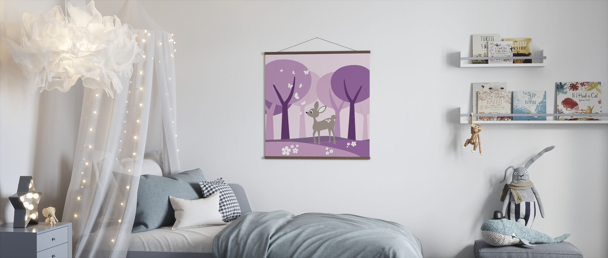 Deer in Purple Woods - Poster - Kids Room