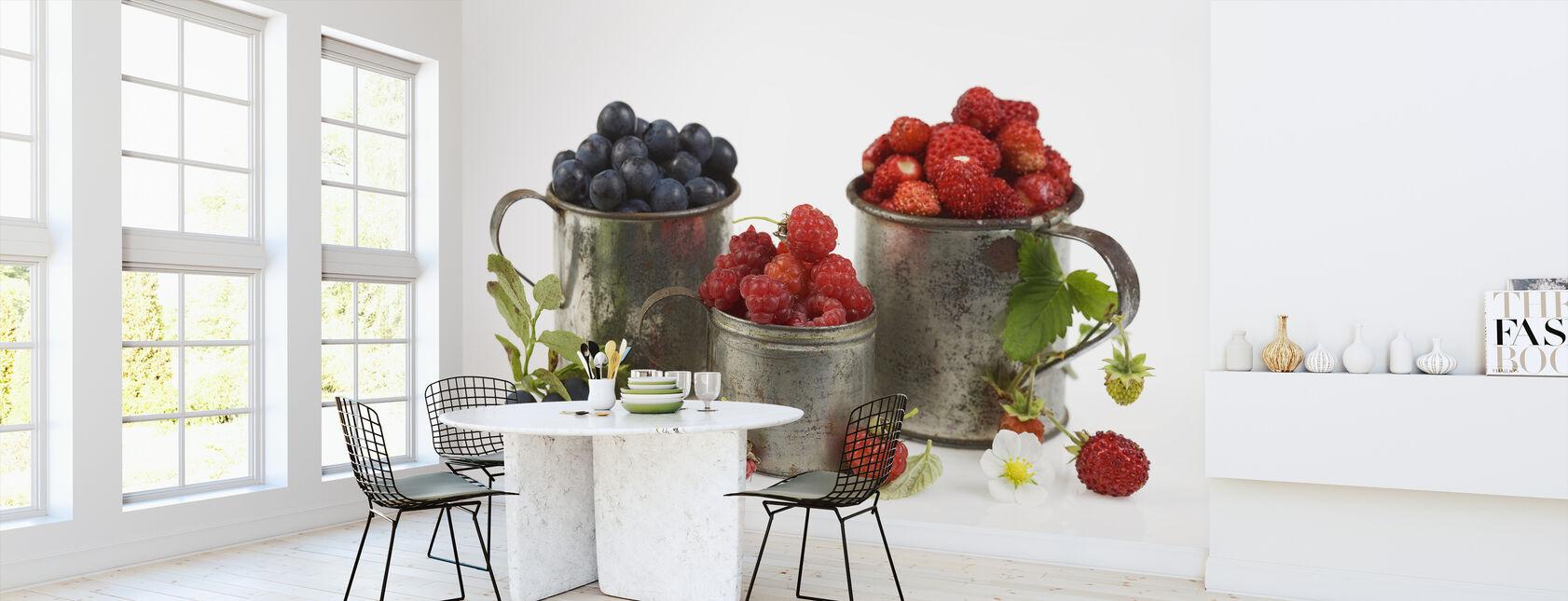 Blåbär Rasberries och jordgubbar - Tapet - Kök