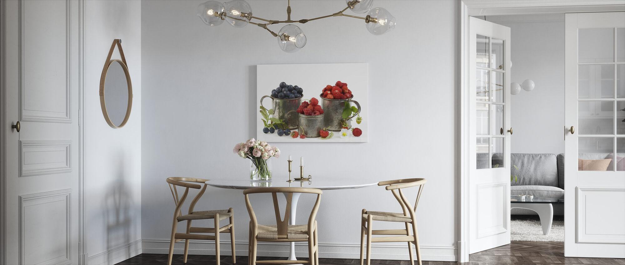 Blueberries Rasberries and Strawberries - Canvas print - Kitchen