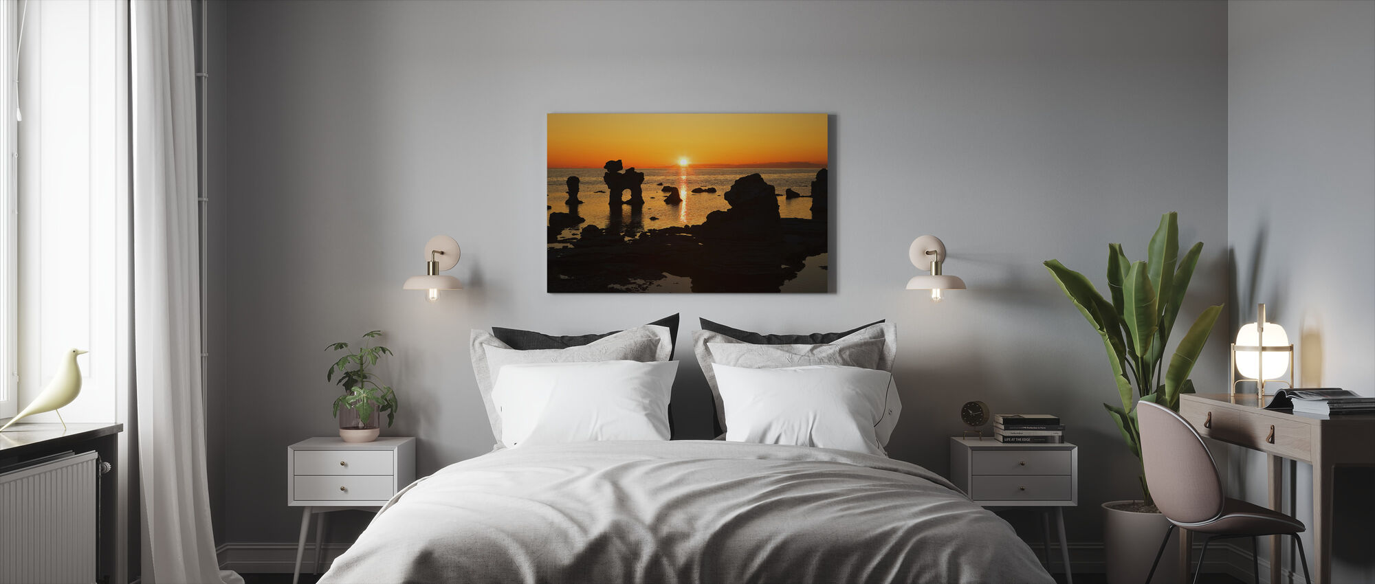 Sunset over Rocky Outcrops at Sea - Canvas print - Bedroom