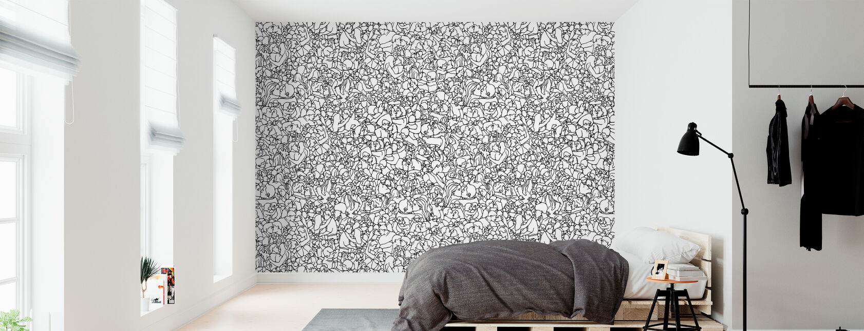 Kissing Pattern - Black - Wallpaper - Bedroom