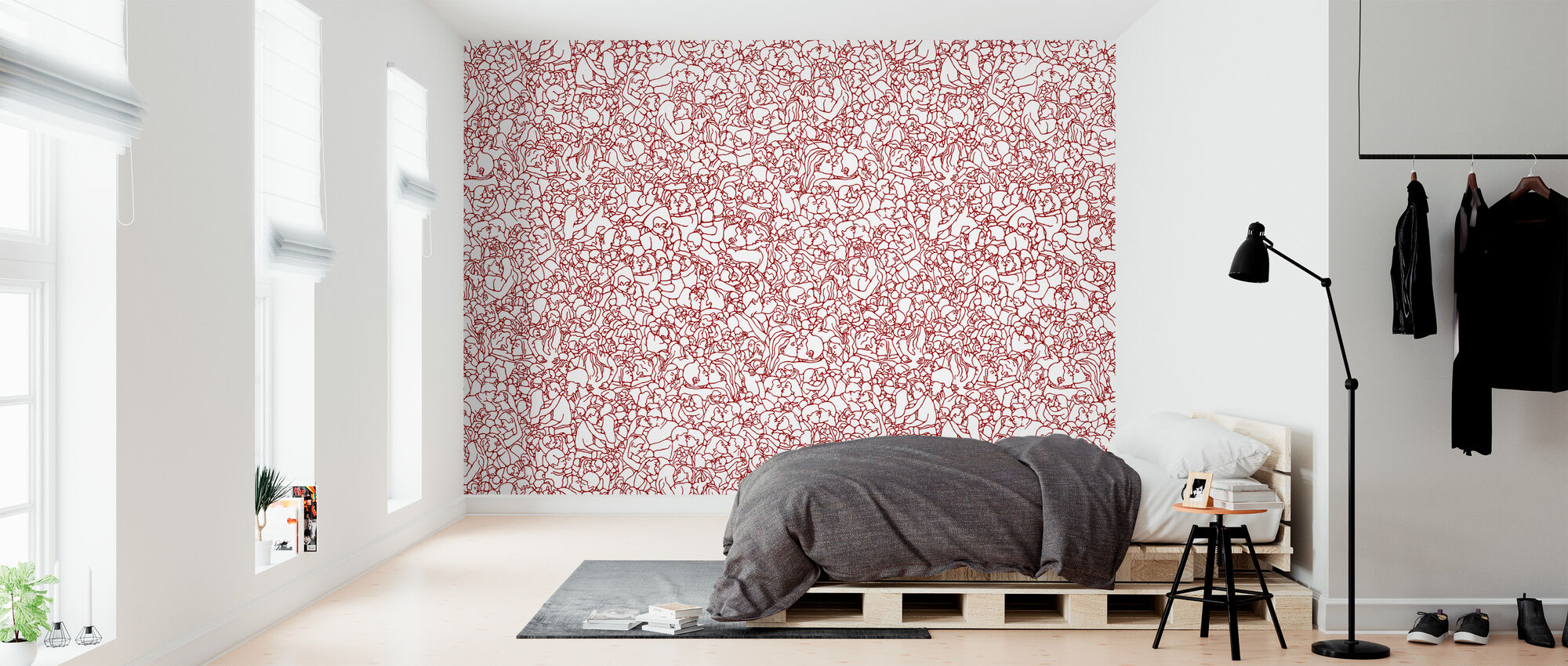 Kissing Pattern - Red - Wallpaper - Bedroom