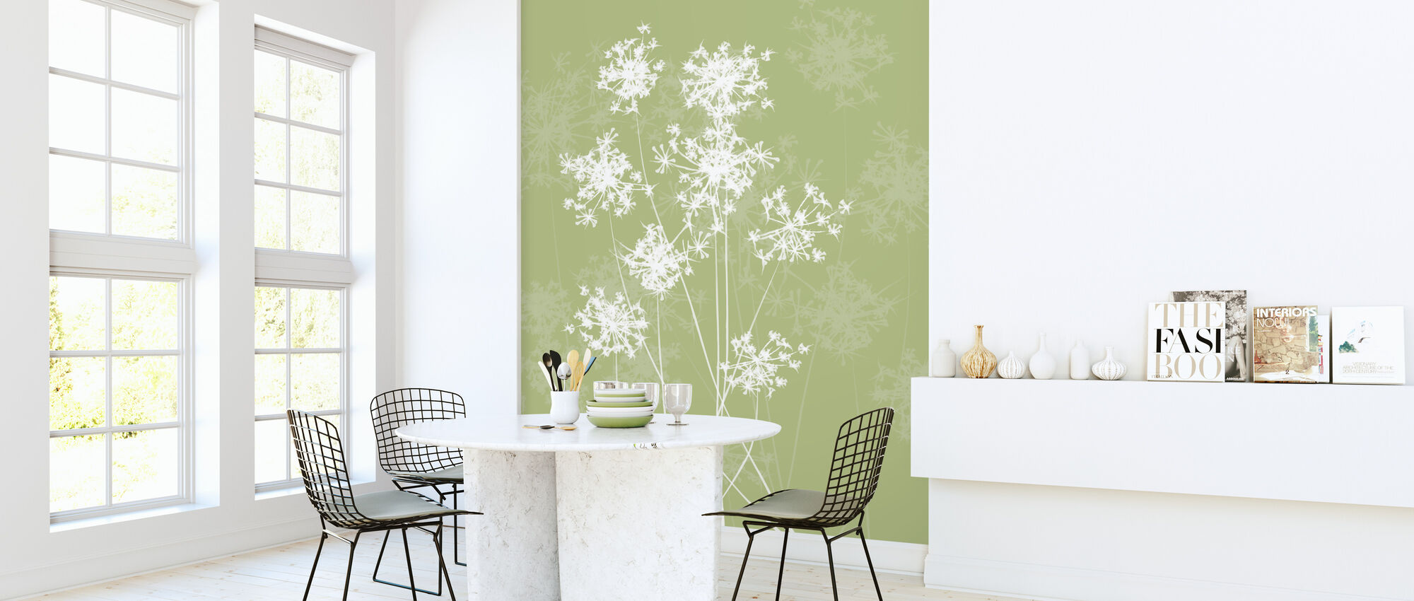 Dandelions - Green - Wallpaper - Kitchen