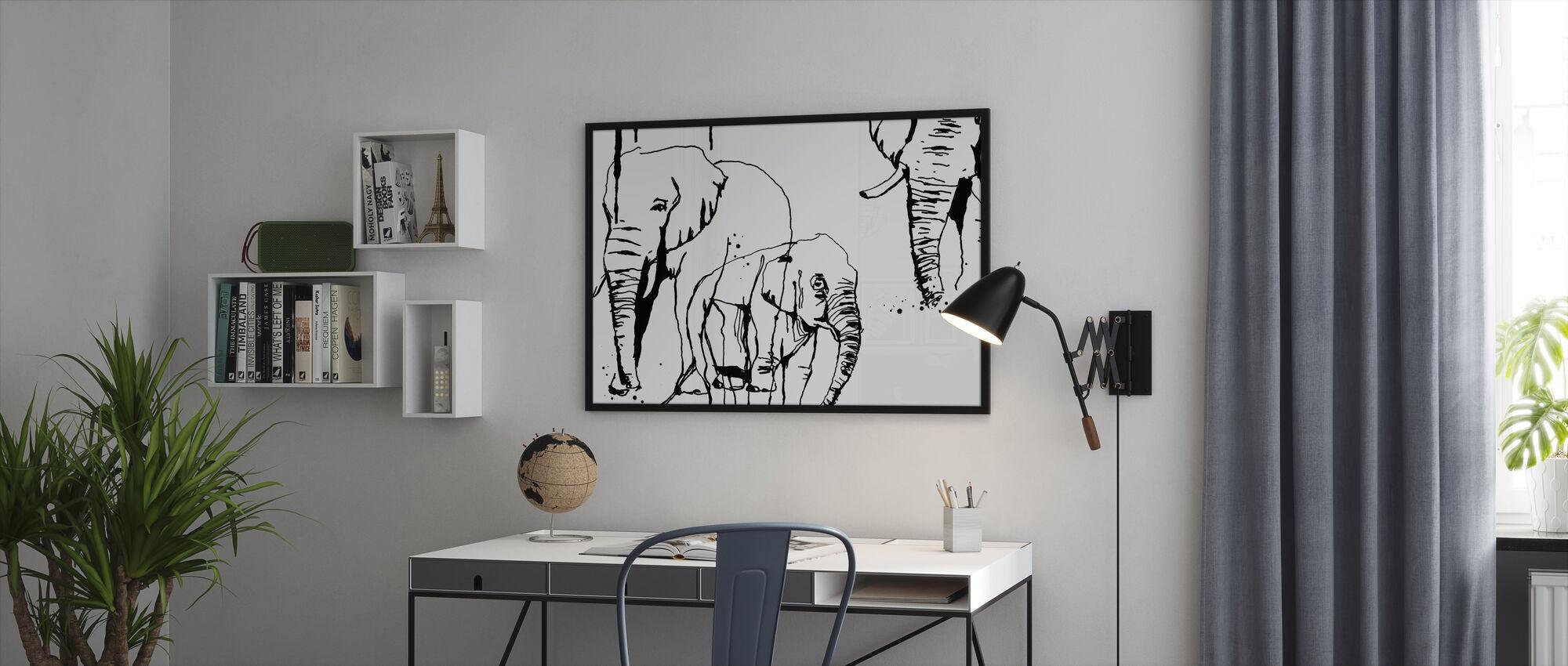 Elefantti - Kehystetty kuva - Toimisto