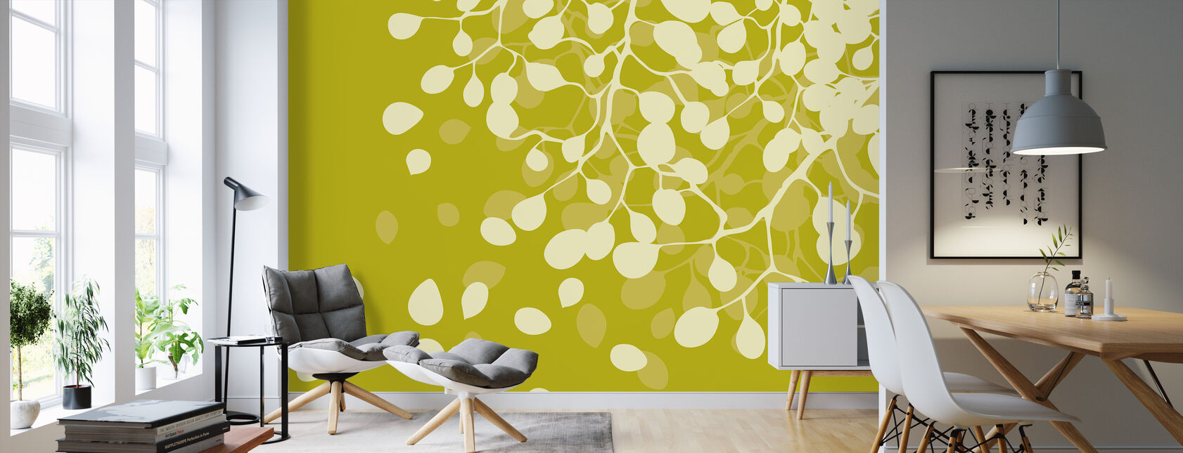Birch Dirty Yellow - Wallpaper - Living Room