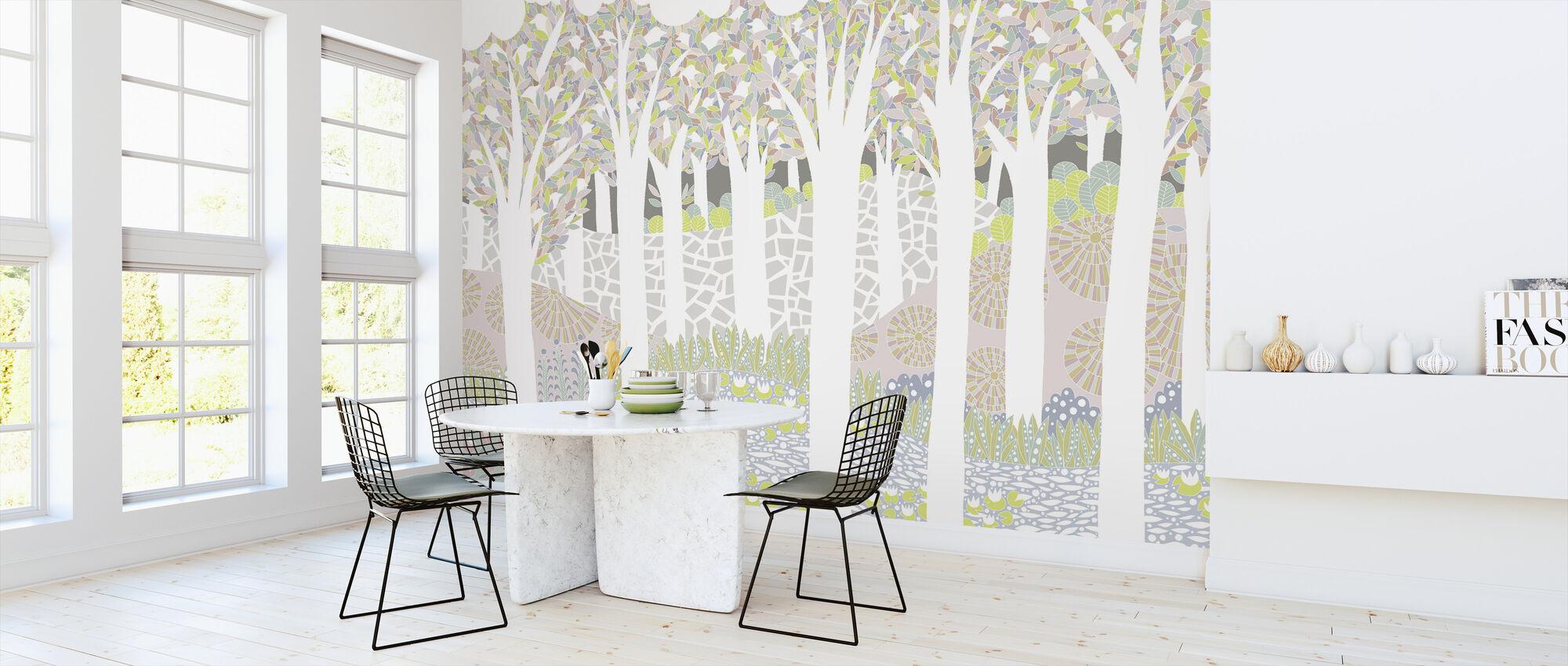 Forêt d'oiseaux - Papier peint - Cuisine
