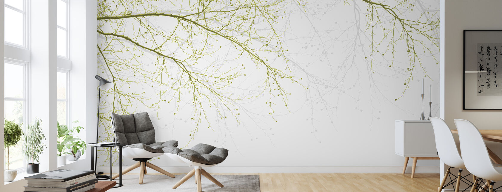 Black Beech - Green - Wallpaper - Living Room