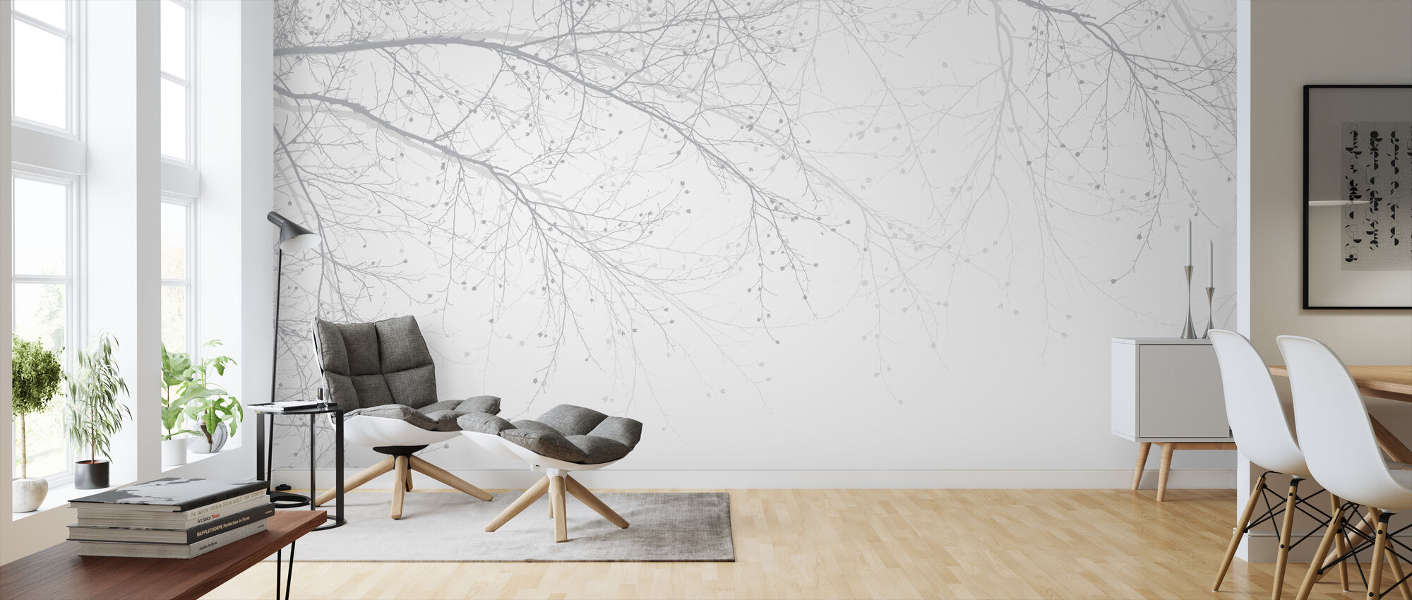 Black Beech - Grey - Wallpaper - Living Room