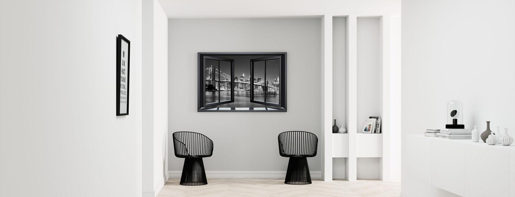 Bright Brooklyn Bridge Through Window - Canvas print - Hallway