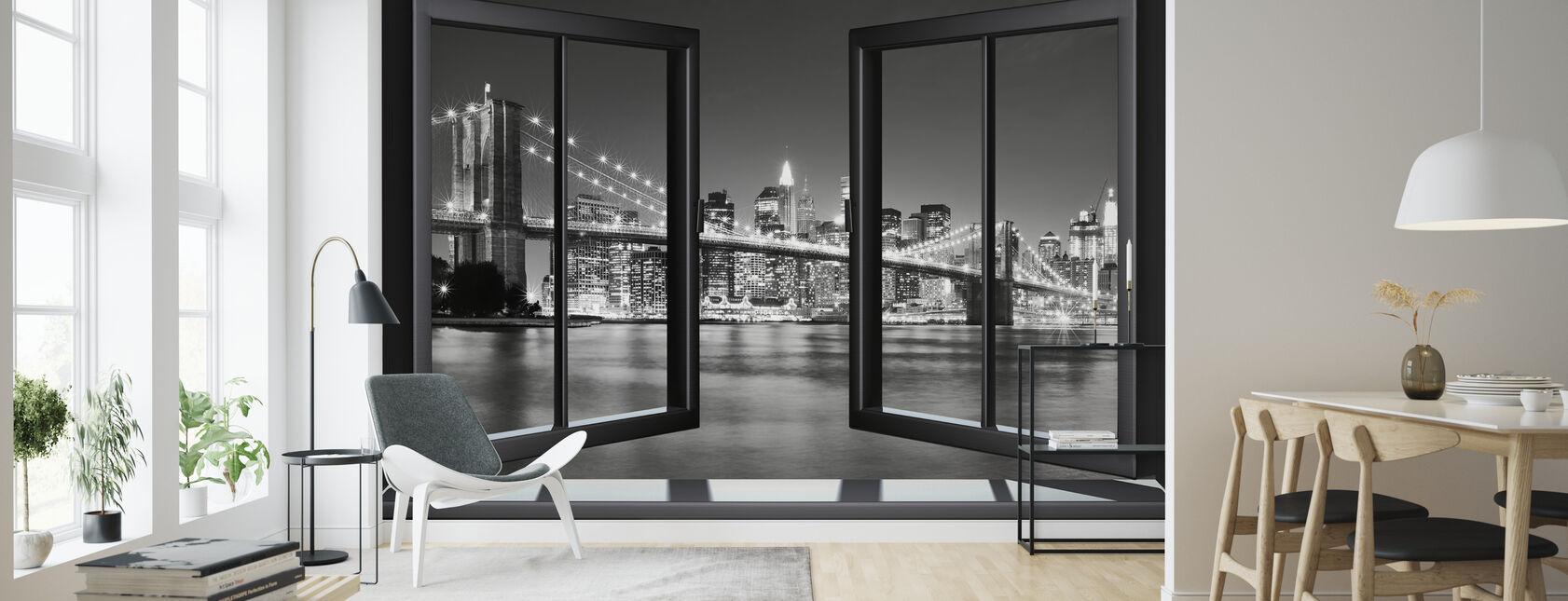 Kirkas Brooklyn Bridge ikkunan läpi - Tapetti - Olohuone
