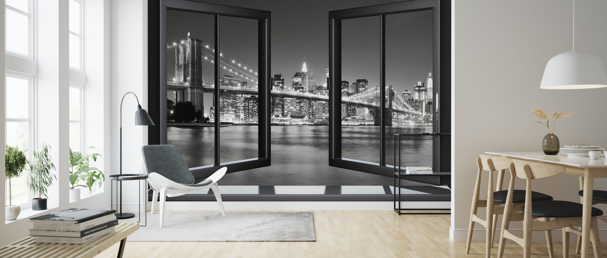 Bright Brooklyn Bridge Through Window - Wallpaper - Living Room