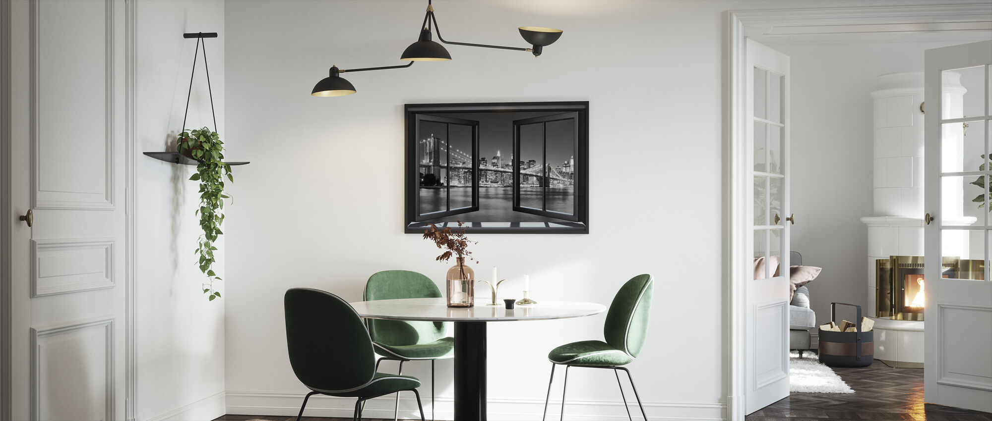 Bright Brooklyn Bridge Through Window - Framed print - Kitchen