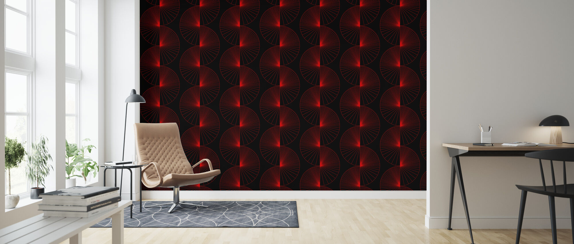 Striped Cikle - Black and Red - Wallpaper - Living Room