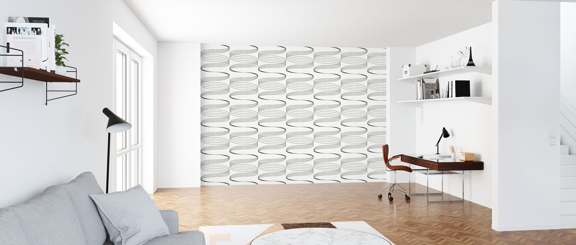Swirle - White and Black - Wallpaper - Office