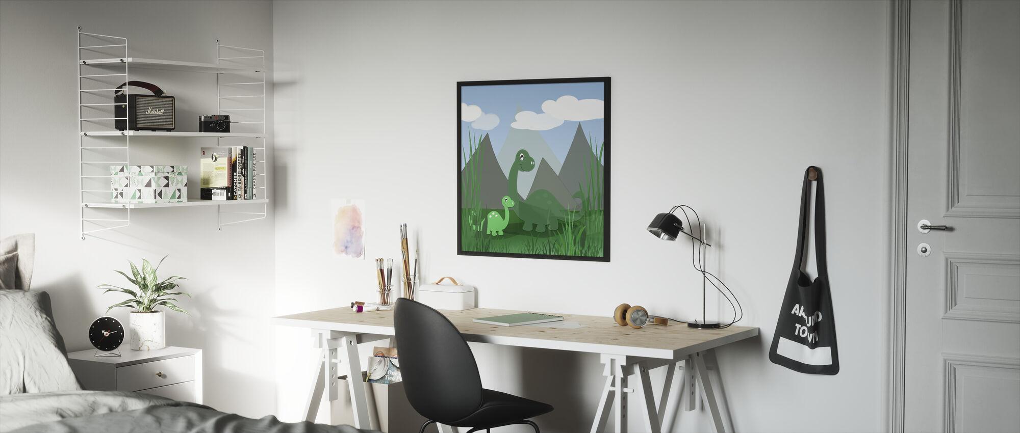 Dinoland - Ingelijste print - Kinderkamer