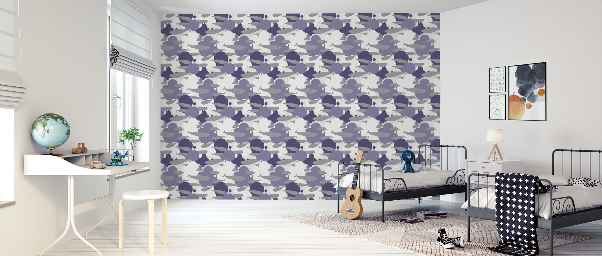 Just Another Swim - Purple - Wallpaper - Kids Room