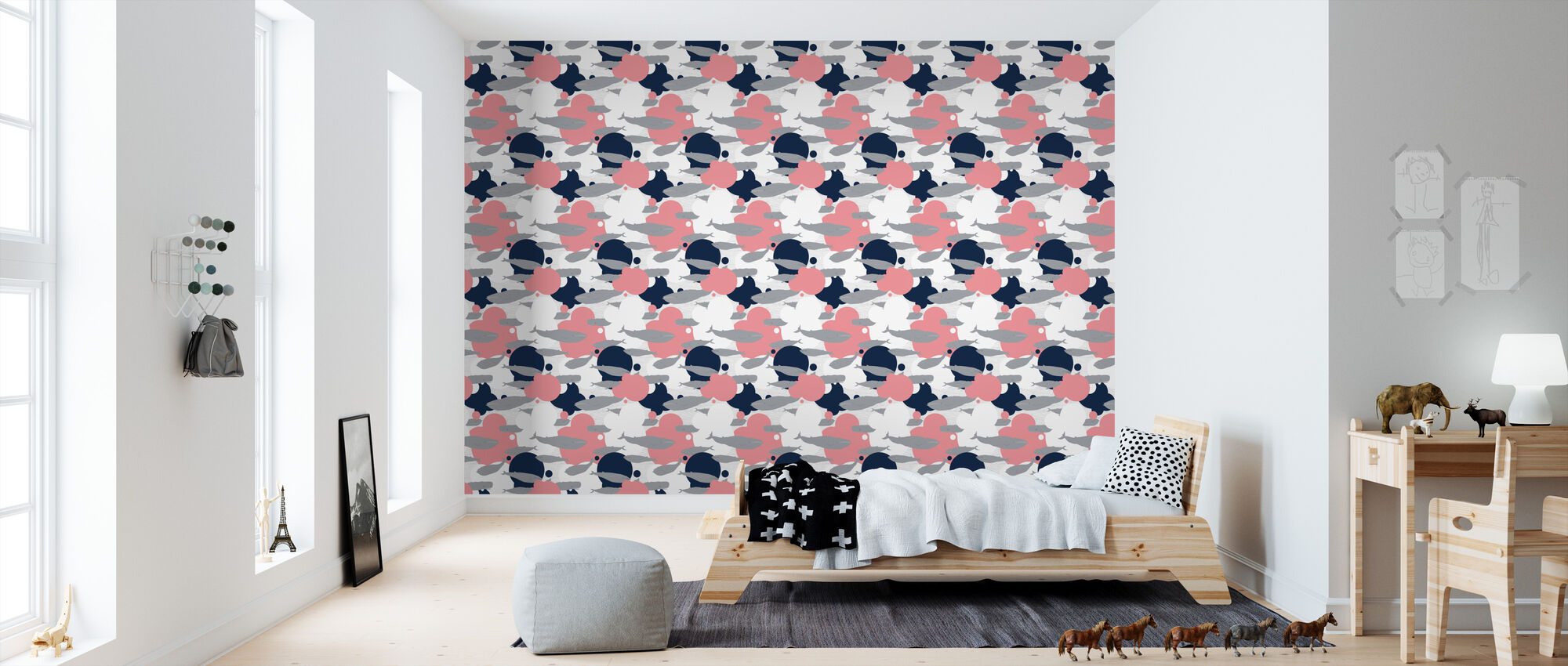 Just Another Swim - Pink - Wallpaper - Kids Room