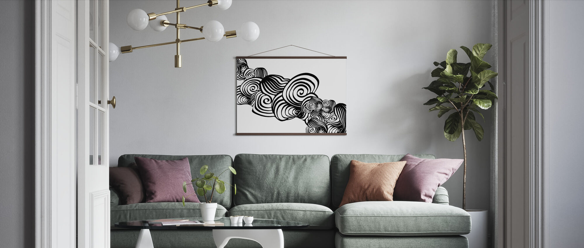 Abstract Tornado - s/w - Poster - Wohnzimmer